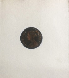1 / 1864 / Half Penny / Franny Swann / Paper, acrylic, watercolour, fibre pen, and Chinese inks