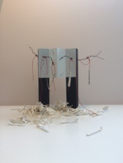 37 / 1961 / Berlin 1961 / Letitia Tunstall / paper, old wire, wood, shredded pages from Berlin 1961 Frederick Kempe