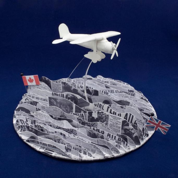 10 / 1932 / Amelia Earhart flies solo across the Atlantic / Roxanne Jackson / paper, Seawhite cartridge paper, inkjet prints, perspex, polystyrene, bead head pins