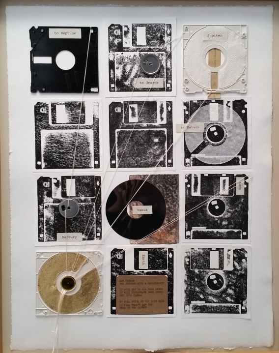80 / 1982 / Turning Tide / Helen Stone / paper and floppy disk montage