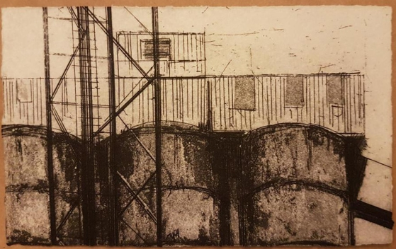 30 / 1957 / Cwm Coke Works, South Wales / Jemma Gunning / etching