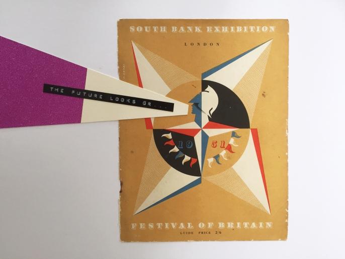 21 / 1951 / The future looks gr... / Graeme Campbell / paper, ephemera, glitter, plastic